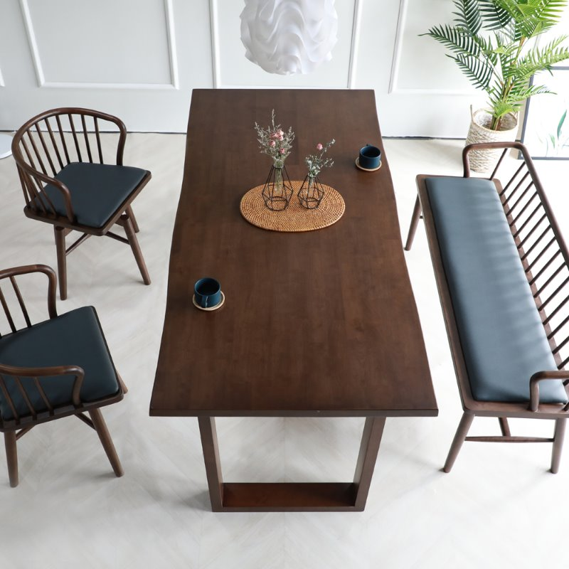 [휴버트] 4인식탁 Set(4 Dining Table & 2 Chairs & 1 Bench)